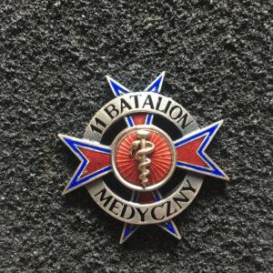 Odznaka - 11 Batalion Medyczny w kolorze srebrnym